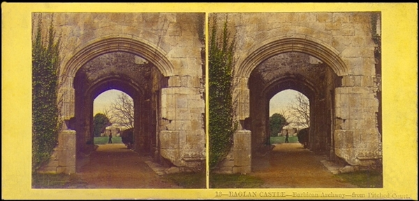 An 1850s Thomas Ogle hand-tinted stereoview of Raglan Castle.