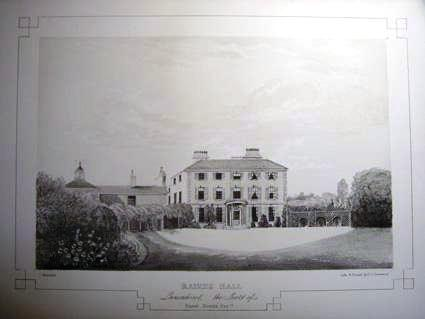 An engraving of Raikes Hall, Blackpool c1847.