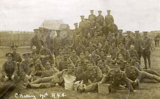 Soldiers of C Battery 170th Royal Field Artillery in St.Annes, 1915.