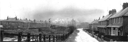 Train passing Ribchester Road, Lytham in the 1950s.