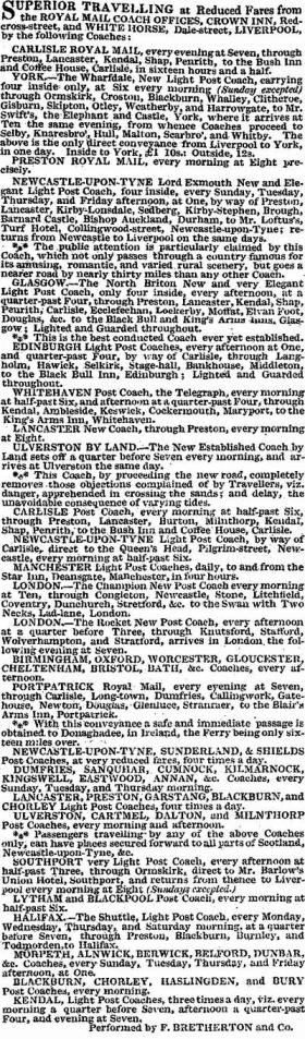 Royal Mail Coach advert for the North of England including Lytham & Blackpool, 1822.