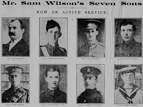 Sam Wilson whose whole family of seven sons were on active service in 1915.