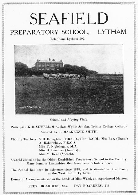 An advertisement c1935 for Seafield House School, Lytham.