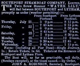 Advert for the Southport Steamboat Company c1880s