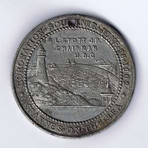 A medallion issued by St.Annes Urban District Council in June, 1902 to comemmorate the Coronation of Edward VII.