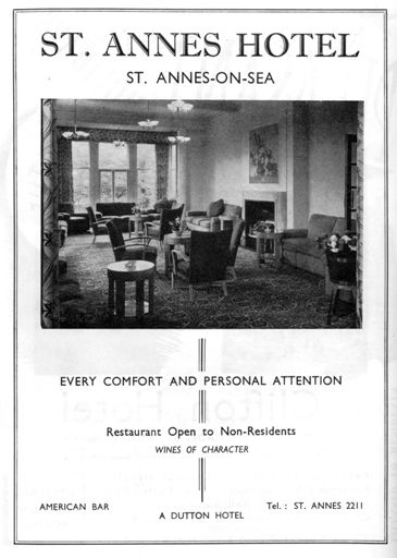 Advert for the St.Annes Hotel from 1954.