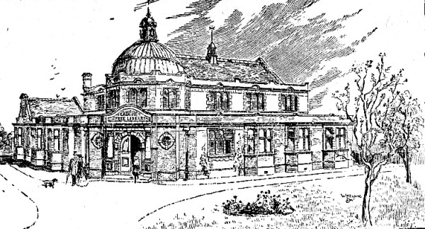 Architects impression of the new Library, St.Annes-on-the-Sea, 1904.