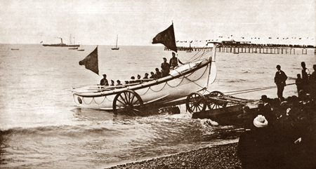Lifeboat launch at the Official Opening of St.Annes Pier, 1885.