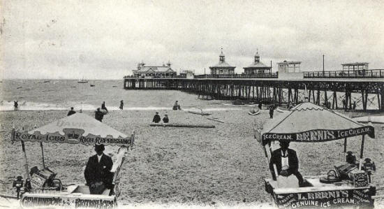 Shelters (right) and refreshment rooms (left distance) under construction during the widening and improvements, 1901-04