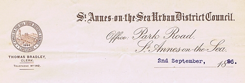 Letterhead of the St.Annes-on-the-Sea Urban District Council 1894-1922.