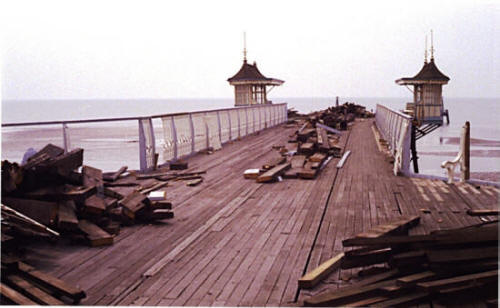 After demolition of the pierhead, the remaining external deck was narrowed to the same width as it had been in 1885.