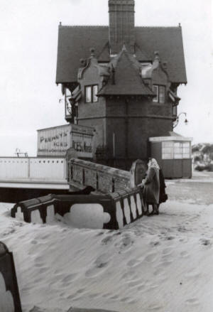 Blown sand by St.Annes pier, 1949.