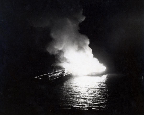 The 1974 fire, St.Annes Pier, viewed from the Majestic Hotel.
