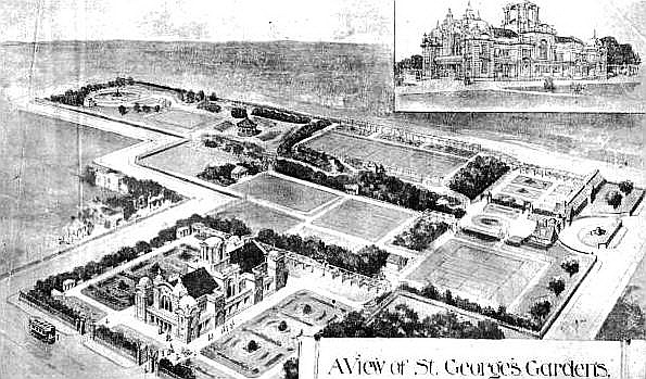 The winning design for the redevelopment of St.George's Gardens in 1913. Won by Fred Harrison, Architect, of Lytham & Accrington.