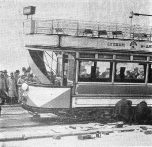 Lytham St.Annes Corporation Tramways electric car derailed on Blackpool Promenade, 1934.
