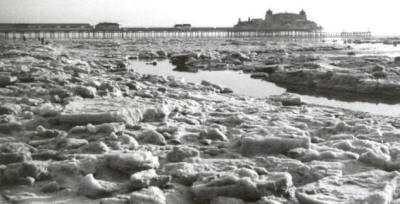 Blocks of frozen seawater on St.Annes Beach, February 1963.
