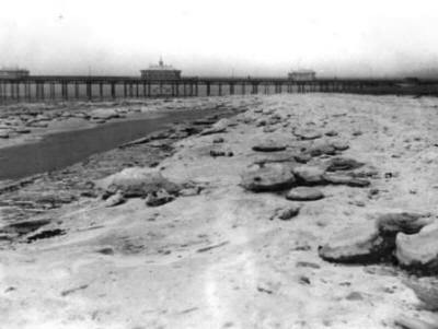 Blocks of frozen seawater on St.Annes Beach, February 1929.