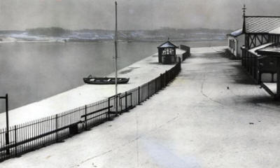 Snow and a thin layer of ice on Fairhaven Lake January 1955