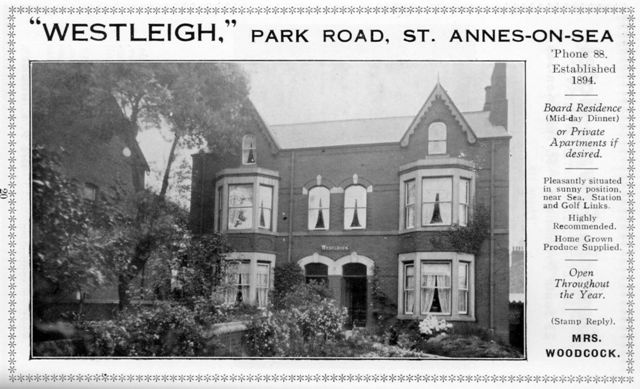 Westleigh Boarding House, Park Road, St.Annes, St.Annes-on-the-Sea.
