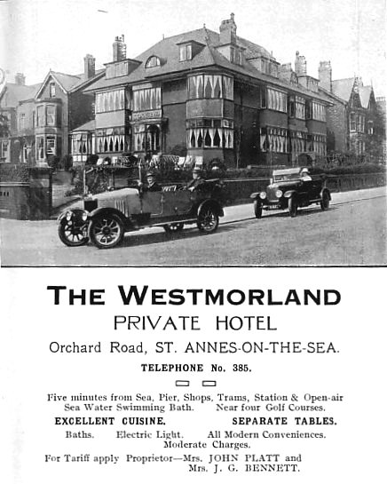 The Westmorland Hotel, Orchard Road, St.Annes (now the site of Westmorland House DSS Offices).