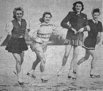 Skating on a pond in Marton, Blackpool, late-January, 1947. Left to right: Joan Lucas, Joyce Marsh, Margaret Hornby & Kathleen Price.
