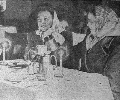 Blackpool, mid-February, 1947. Dining by candlelight during the power cuts.