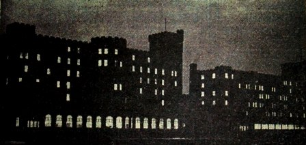 Gleaming eyes in the blackout. February 1947. The staff of the Ministry of National Insurance at the Norbreck Hydro, Blackpool, have been working overtime for many months, often as late as 9p.m. This picture was taken during the blackout of street lighting.