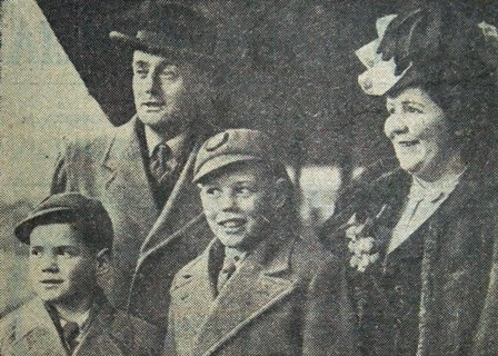 Mr & Mrs Herbert Dixon and their two boys, Gordon and Brian, pictured at Central Station, Blackpool, February, 1947.They were leaving for their new home in South Africa. Mr Dixon was an ex-member of Blackpool Police Force.