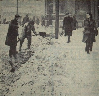 Clearing snow in Talbot Square, Blackpool, last week of February 1947.