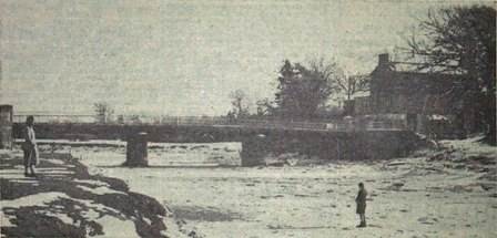 The River Wyre frozen at Cartford Bridge, the first weekof March, 1947.