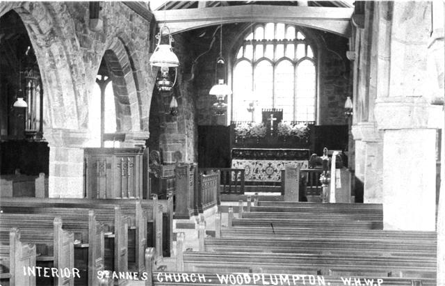 Photo of the interior of Woodplumpton Church, Lancashire c1904.